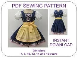 Dirndl Pattern Impressive Dirndl Dress Pattern Size 4848 Yr Dirndl Dress And Apron Etsy