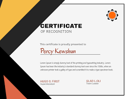 Certificate Of Recognition Design Template Postermywall