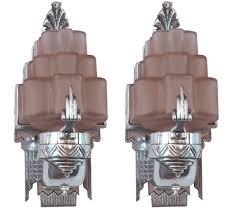 art deco bathroom lighting. American Art Deco Sculptural Aluminum And Pink Glass Sconces Bathroom Lighting T