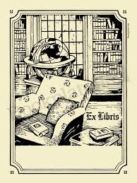 a109 bookplate with home library and globe ex libris wording