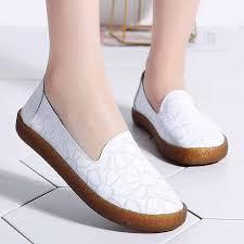 <b>2019 New Women</b> Flats Shoes <b>Genuine</b> Leather Slip On Ladies ...