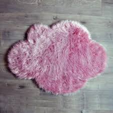 cloud washable faux sheepskin rug vintage pink