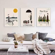 sumptuous hipster wall decor simple design triptych modern london new york paris city travel a4 art