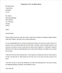 two weeks notice letter 31 free word pdf documents letter of resignation 2 weeks notice template 7