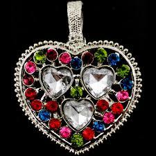 pen 026 whole multicolor clear heart gemstone rhinestone silver color magnetic pendant image 1