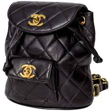 Chanel Vintage Black Quilted Lambskin Leather Mini Backpack Bag at ... & Chanel Vintage Black Quilted Lambskin Leather Mini Backpack Bag 1 Adamdwight.com
