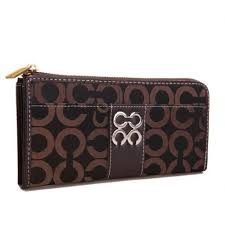 Coach Madison Accordion Zip In Signature Large Coffee Wallets AGN