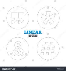 Quote Asterisk Footnote Icons Hashtag Social Stock Vector Royalty