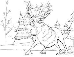 frozen christmas coloring pictures.  Frozen Sven Lights Frozen Christmas Coloring Pages With Pictures N