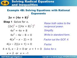 solving radical equations and inequalities ppt solving equations with fractional exponents worksheet jennarocca