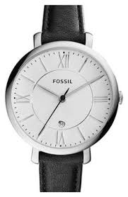 fave brown leather fossil jacqueline round leather strap watch