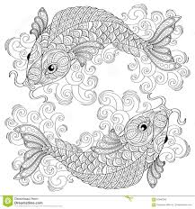 Koi Fish Chinese Carps Pisces Adult Antistress Coloring Page