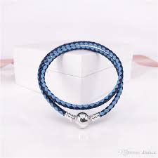 2019 authentic 925 sterling silver moments double woven leather bracelet blue mix pink mix pandora style jewelry 590747cbmx d from dhalice