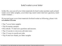 Hotel Waiter Cover Letter