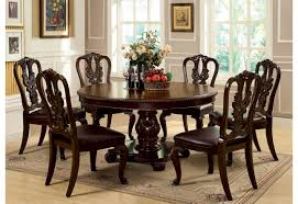 alluring round dining table for 6 1 simple wooden cabinet placed near oak and chairs under white lamp images