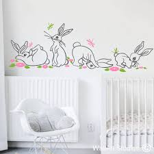 kn cute baby hares dragonflies flowers photo pic nursery wall art stickers