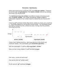 Worksheet Hybridization
