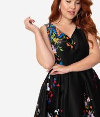 <b>Plus Size</b> Black Border <b>Floral Print</b> Cotton Swing Dress – Unique ...