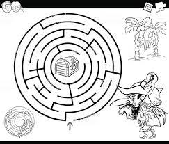 Doolhof Met Piraat Kleurplaten Pagina Stockvectorkunst En Meer