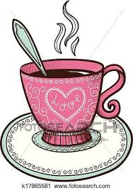 tea cup heart clip art.  Art Clipart  Tea Or Coffee Cup With Heart Shaped Steam Fotosearch Search  Clip Inside Cup Heart Art