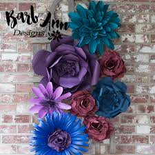 Paper Flower Designs Dark Purple Teal Burgundy Paper Flower Set