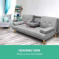 3 Seater Sofa Bed Linen Fabric 3 Three Seater Sofa Bed Mattress Couch 2 Cup Holder