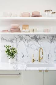 open kitchen shelves instead of cabinets bright kitchen with marble backsplash white open shelves