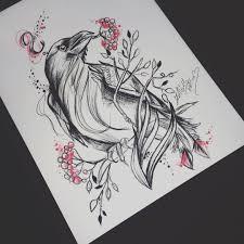 оригинальный универсальный эскиз тату вороны 635