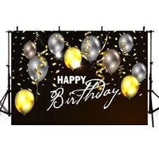 Black Happy Birthday Details About Photography Background Custom Happy Birthday Black White Glitter Gold Balloons