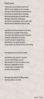first love poem by john clare poem hunter