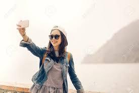 Soft Selfie Light Beautiful Asian Traveler Taking Selfie With Ocean View Background