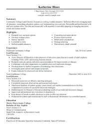 Resume Samples For Teachers With Experience Lead Educator Resume