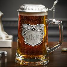 the traditional shield topped with a le eagle makes this stein a beautiful patriotic gift for police officers who enjoy