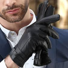 men s gloves black winter mittens keep warm touch screen windproof driving guantes male autumn winter
