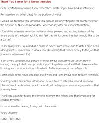 thank you letter for a nurse interview forumslearnist
