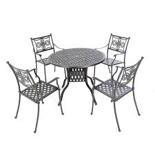 cast aluminium 106cm round table with 4 knot chairs autumn rust