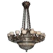 antique chandelier silver over bronze and alabaster for