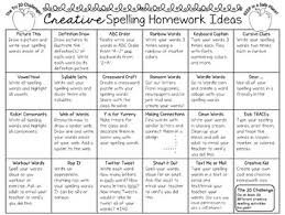 Free Creative Spelling Homework Ideas Color And B W Student Chart