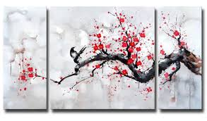 com black white red modern abstract cherry blossom wall art picture 3pcs oil paintings on canvas handmade for living room home decor framed