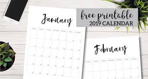 Free Printable 2019 Calendar Template Pages Paper Trail Design