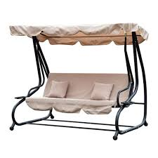 outsunny 3 seater garden swing chair beige outdoor convertible chair bench garden hammock patio canopy bed 3 person beige steel aosom uk