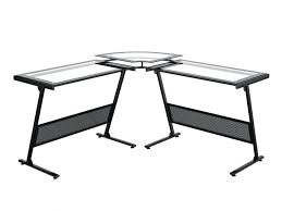 glass and chrome computer desk l