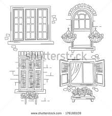 vintage window drawing. detail · set o retro windows isolated on white background. hand drawing illustration #176188109 vintage window t