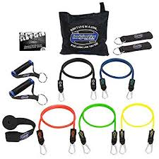 Bodylastics 12 Pcs Max Tension Resistance Exercise Bands Set This Super Tough System Features Professional Quality Components At A Non Professional