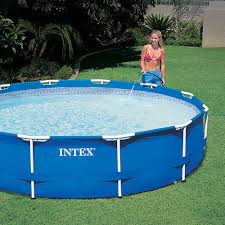 intex 12 x 30 metal frame set above ground swimming pool with filter 28211eh walmart