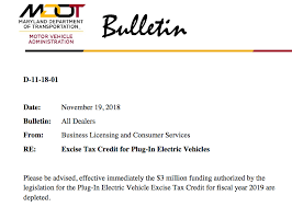 fiscal year 2019 dates funds depleted for maryland electric vehicle excise tax credit for