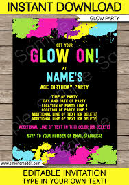 Birthday Party Invitation Neon Glow Party Invitations Template Editable And Printable