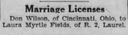 Marriage license for Dan Wilson and Laura Myrtle Fields - Newspapers.com