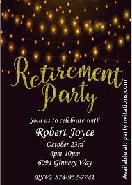 Invitation Cards Designs For Retirement Party Golden Lights Retirement Party Invitations In 2019