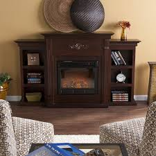 com sei tennyson electric fireplace with bookcases espresso kitchen dining